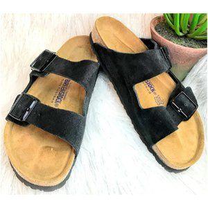 Black Suede Leather Arizona Birkenstock Size Wo.10
